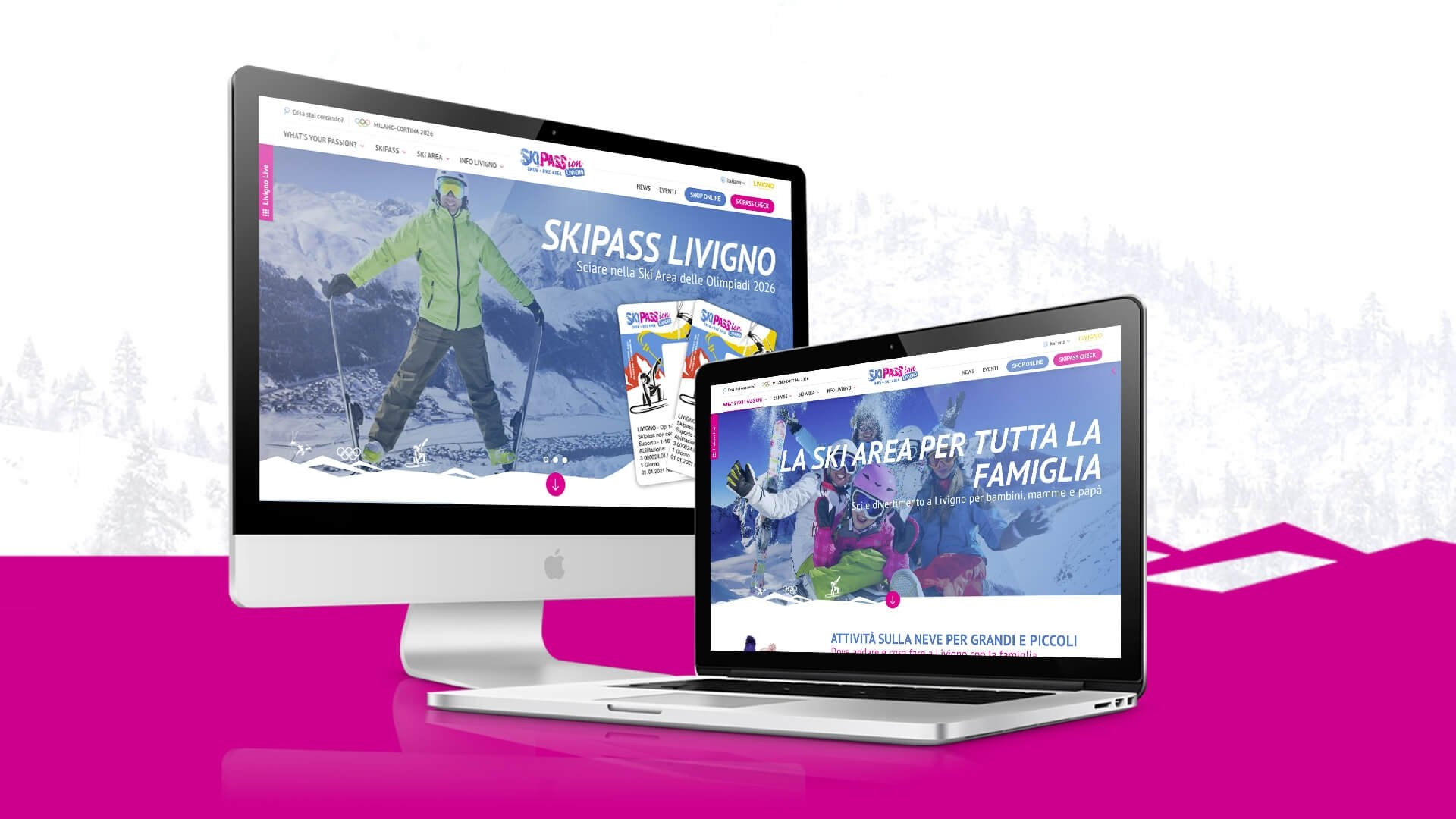 Portale web di Skipass Livigno sviluppato da Webtek